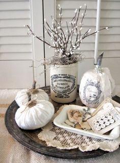 retro hauch elegante ideen für herbstdeko weiß