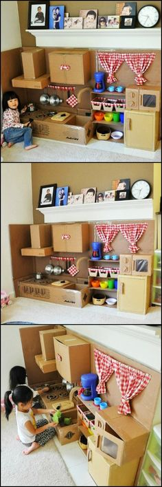 How To Make A Play Kitchen From Cardboard http://theownerbuildernetwork.co/cck3 Here's a project that will allow you to recycle those cardboard boxes AND keep the little ones busy! Kids get their happiness from the simplest of things. A complete kitchen play set would make them happy, even when made out of cardboard boxes like this! What cardboard play sets would your little ones like?