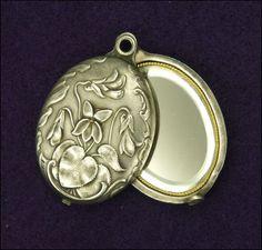 French Art Nouveau Heavily Silver Plated Violet Mirror Slide Pendant