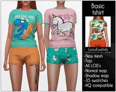 The Sims 4 Basic tshirt by lazyeyelids Los Sims 4 Mods, Sims 4 Game Mods, Sims Four, Sims 4 Mm, Maxis, Sims 4 Children, Children Clothing, Sims 4 Anime, Pelo Sims
