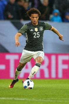 Leroy Sane of Germany runs with the ball during the international friendly match between Germany and Slovakia at WWK-Arena on May 29, 2016 in Augsburg, Germany.