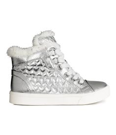 Silver-colored. Warm-lined high tops in fabric with a metallic finish and textured panels. Lacing, zip at side, pile lining and insoles with glittery