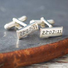 Personalised Rectangular Silver Cufflinks