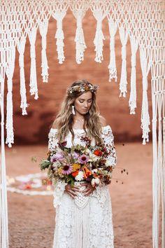 Macrame Wedding - Background Arch and Bouquet Wrap #bohemian #modernmacrame Quarai Ruins, New Mexico