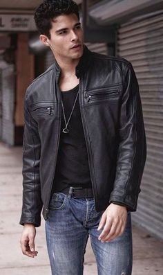 Mens Black Leather Jacket : This black Leather Jacket is made from real leather. Quilted designs are made on both the shoulders that make the jacket more attractive. Leather Jacket Outfits, Men's Leather Jacket, Leather Jeans, Leather Jackets, Man Jacket, Black Leather, Real Leather, Handsome Men Quotes, Handsome Arab Men