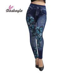 Dasbayla Women Jeans Leggings Mock Pocket Print High stretch Pants Ladies Denim Skinny Trousers Sexy Slim Black Leggings 2017