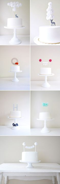 pom pom wedding cake toppers from potter and butler via junebug weddings.