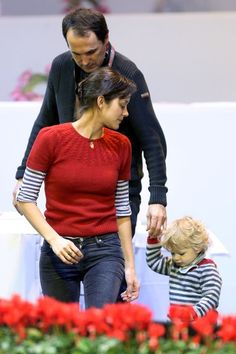 Marion Cotillard, red sweater layered with striped shirt