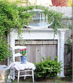 Love this! Garden Mantel and repurposed old mirror - both repainted white and now an outdoor feature. Mirrors can also be used in the garden to make a small space look bigger. | The Micro Gardener