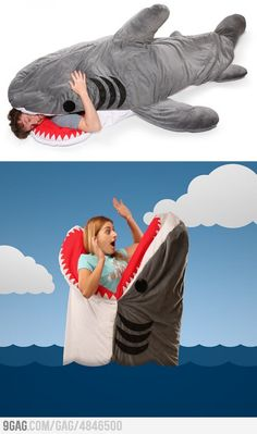 Funny pictures about Shark Sleeping Bag. Oh, and cool pics about Shark Sleeping Bag. Also, Shark Sleeping Bag photos. Burlap Rug, Esquivel, Shark Week, Just For Fun, Marketing, Make Me Smile, Nerd, Hilarious, Sleeping Bags