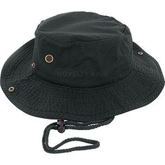 638faeb7 Bucket Hat with Chin String for Summer Wear Beach and Parties- Black cotton
