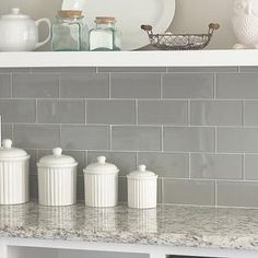 Gray Glass Subway Tile, Transitional, kitchen, Valspar Tranquil, Jenna Sue Design