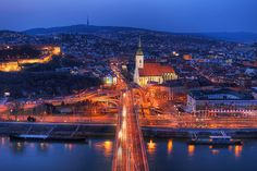 Bratislava in blue and red - HDRshooter The Places Youll Go, Places Ive Been, Places To Visit, Bratislava Slovakia, Plan My Trip, Trip Planning, San Francisco Skyline, Places To Travel, Paris Skyline