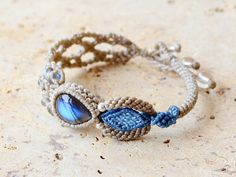 Labradorite (from Madagascar) and natural stone bracelet with crochet accents