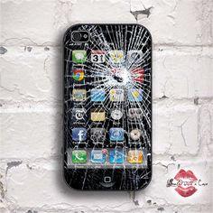 Fake broken glass I phone. I phone case