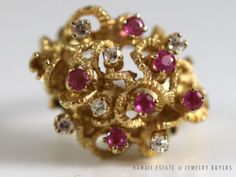 STUNNING RARE 14K YELLOW GOLD NATURAL FANCY PINK SAPPHIRE & DIAMOND CLUSTER RING