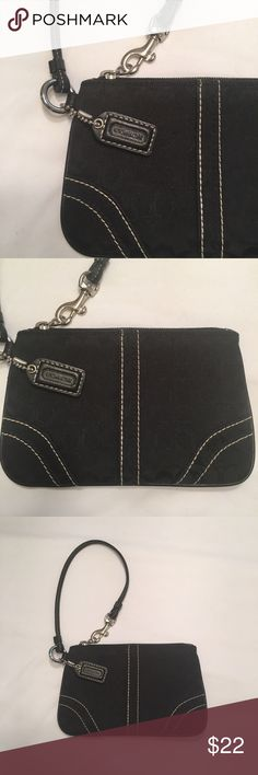 "Coach black wristlet Black Coach wristlet with white stitching detail. Excellent used condition, like new. Measures 6.25""x4"". Coach Bags Clutches & Wristlets"