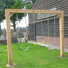 22 Simple Backyard Three Types of Swings // playground backyard landscaping for kids swing sets Backyard Swing Sets, Backyard Playset, Diy Swing, Backyard Plan, Backyard For Kids, Backyard Projects, Backyard Landscaping, Swing Sets Diy, Landscaping Ideas