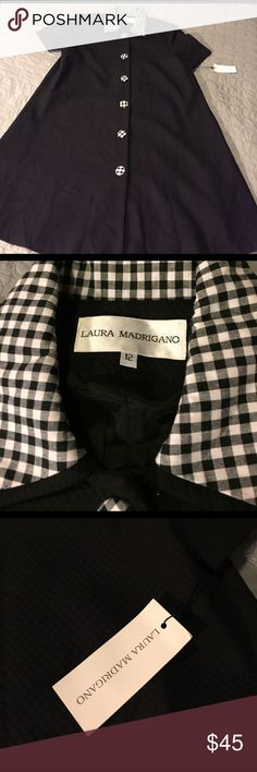 NWT Laura Madrigano A-line Dress This adorable dress has a vintage feel to it with the collar and button details. It is fully liked and can be worn as a jacket or a dress. Never worn. Laura Madrigano Dresses Midi