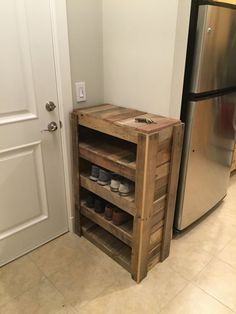 This beautifully handcrafted reclaimed pallet wood shoe rack with waxed finish is filled with charm and a myriad of cool wood colors. It is 28x41x13.5 in dimension and fits 3-4 pairs of shoes per shelf. The top of the rack is a great place to set your keys or a nice sign to welcome your guests (It could also serve as a fifth shoe shelf). It is plenty sturdy (~90 lbs) (able to support at least a 185 pound man standing on an individual shelf). A well-made piece that is sure to brighten up your…