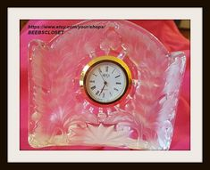 Mikasa Crystal Clock with frosted decorations Quarts