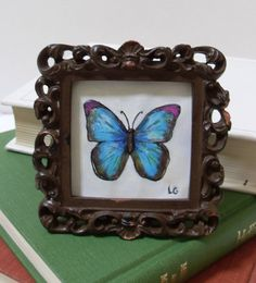 SALE Blue Butterfly Drawing in Brown Shabby by cleverfigstudios, $12.00