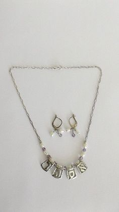 Sterling Silver Necklace & Lever Back Earrings Set, Hebrew Letters, Pearls #Unbranded