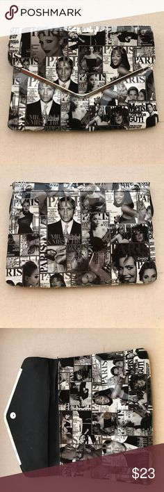 """VTG Celebrity Magazine Clutch This Celebrity Magazine clutch is really cool! Snap button clasp. 2 interior section. 2 interior pockets. Measures. 12""""x9"""". Has a couple of scratches on back. And missing strap. See last picture. Sold as is Celebrity Magazine Bags Clutches & Wristlets"""