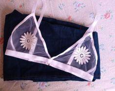 Black mesh and rose applique bralette see through by shopStudioB