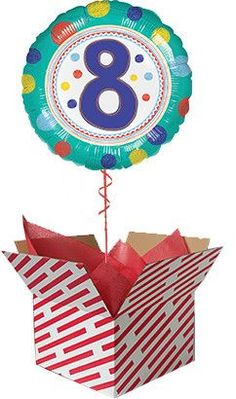 Dots 8th Birthday Balloon Gift