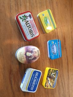 """Use small tins to decorate, then put your """"goal objects"""" into the tiny containers. Great to carry in your purse, backpack or keep in your desk drawer. Great ideas and goals can come in small containers! Floral Sofa, Floral Fabric, Local Furniture Stores, Furniture Sale, Throat Lozenge, Small Tins, Portable Toilet, Desk With Drawers, Peppermint"""