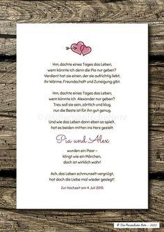 Charmant und originell: Dieses humorvolle Liebesgedicht wird ganz individuell für das glückliche Paar angepasst.   Eine ganz besonders nette und außergewöhnliche Geschenkidee für zwei ganz...