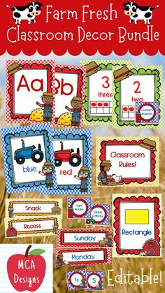Check out my Farm Fresh Editable Classroom Décor bundle features all you need to have a fresh new look for your classroom this fall! Check out the preview for a quick look at this colorful theme. My Farm Fresh Classroom Décor Editable Bundle features my ENTIRE Farm Fresh collection including several editable files! #teacherspayteachers #tpt #classroommanagement #backtoschool Classroom Décor, 2nd Grade Classroom, School Resources, Teacher Resources, Teaching Ideas, Classroom Resources, Kindergarten Learning, Preschool, Kindergarten Themes