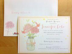 An elegant bridal shower invitation with decorative flowers on both the invite and the envelope.  www.threelittlebirdsinc.com