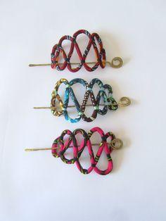 fabric Hair Barrette - African Hair fork Pin - Hair Accessories