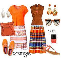 """""""Orange Fun // Double Combo Outfit"""" by svscakes on Polyvore"""