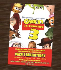 Toy Story Printable Birthday Invitation with photo by NhelyDesigns