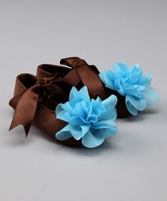 brown and blue flower booties