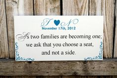 As two families Become one pick a seat not a side by SignsToLiveBy, $42.00