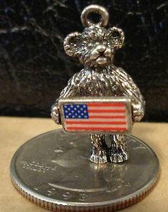 RARE Vintage Sterling Silver Enamel 3D 4th of July Bear w US Flag Charm 5 8 GR | eBay