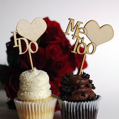 Wedding Cupcake Toppers - Wood I Do Me Too personalized wedding date option available