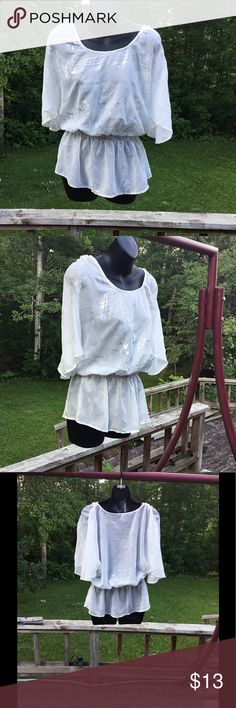 White Boho Top White and silver shimmer boho blouse with an elastic waist. #cute #summer #shimmer #boho #classy #blouse #top #elastic Studio Y Tops Blouses