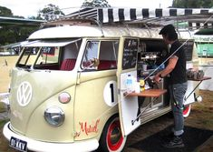 coffee from this neatly fitted out Kombie van called Muriel, mobile coffee shop.  They're called Kombi Koffein. Hang out near West End markets, Brisbane, on Sat?