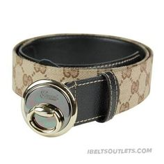 Stylish Gucci Mens Round Plaque Buckle Gg Leather Belt f2f050becc3