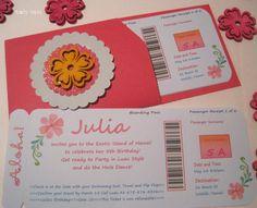 Boarding Pass invitation Luau Hawaiian Hula Girl Hibiscus Birthday Hawaii Party Sweet 16 Quinceanera Bridal Shower Printable PartyTales