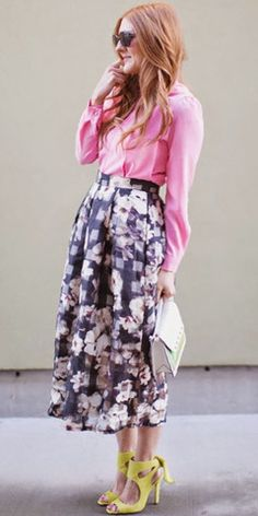 Pixilated Blossoms Midi Skirt