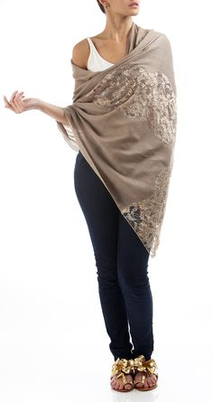 Is anything more luxurious than this beautiful lace cashmere shawl by Janavi? So elegant! 