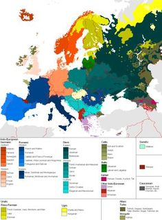 Map of the Languages in Europe. Sprachen in Europa European History, World History, European Languages, Languages Of The World, European Countries, Human Geography, Historical Maps, Anthropology, Fun Facts
