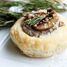 Mushroom Hemp Tartlets | These tasty, crusty tartlets make an excellent starter or horderves for your festive meals. Made with hemp hearts (which add an extra boost of protein and savory umami flavor), mushrooms, and goat cheese, these morsels pair rich flavors with flaky pastry.