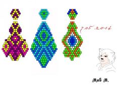 Various ornaments earrings brick weave. Beaded Earrings Patterns, Peyote Patterns, Loom Patterns, Beading Patterns, Seed Bead Jewelry, Seed Bead Earrings, Beading Projects, Beading Tutorials, Diy Couture